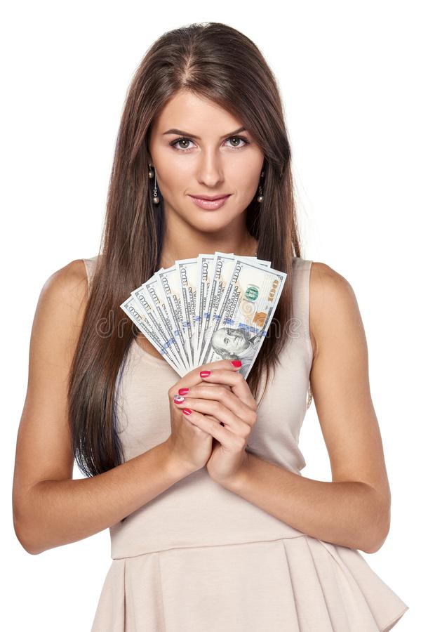 Femme avec argent de dollar US photos libres de droits