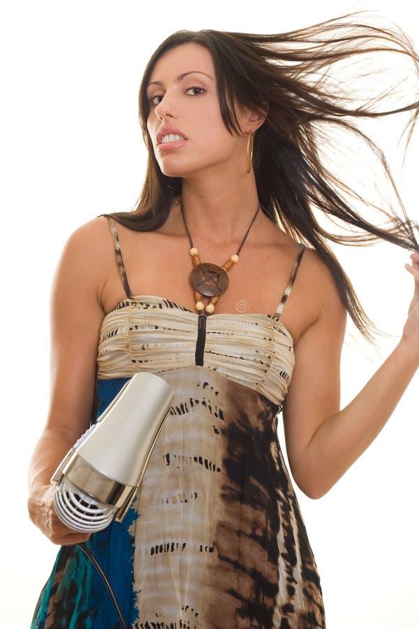 Download Femme avec Blowdryer photo stock. Image du fascinant, haircare - 733694