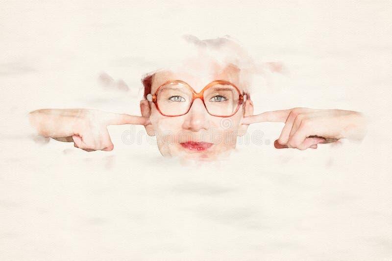 Femme avec de grands verres tenant ses doigts sur ses oreilles illustration de vecteur
