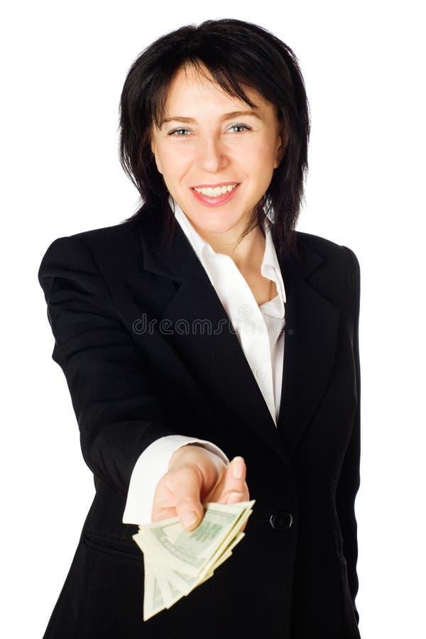 Femme avec de l'argent photographie stock