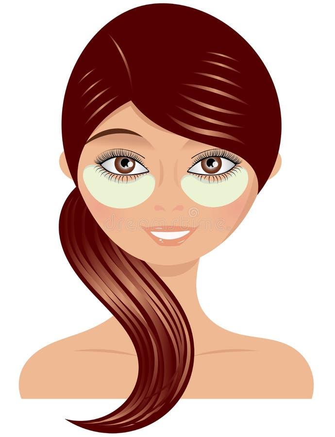 Femme avec de la crème sous l'oeil illustration stock