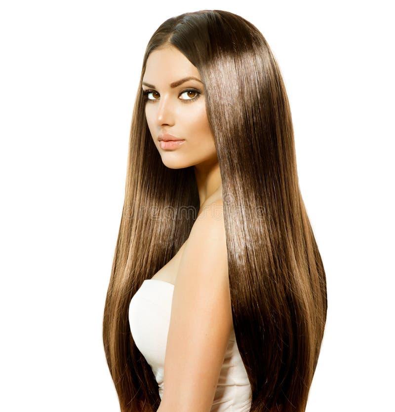 Femme avec de longs cheveux image stock