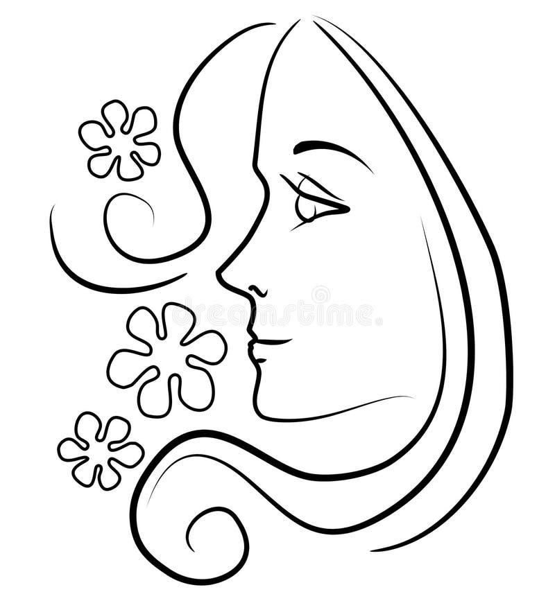 Femme avec de longues fleurs de cheveu