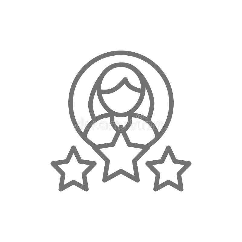 Femme avec des étoiles, notations client, ligne femelle icône de qualité illustration de vecteur