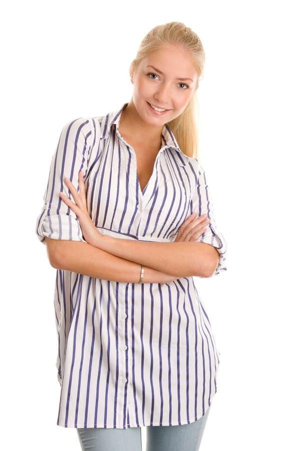 Femme avec des bras croisés photo stock