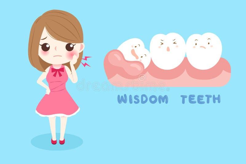 Femme avec des dents de sagesse illustration de vecteur