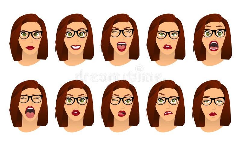 Femme avec des expressions du visage en verre, gestes, crainte de déception d'enchantement de tristesse de dégoût de surprise de  illustration stock