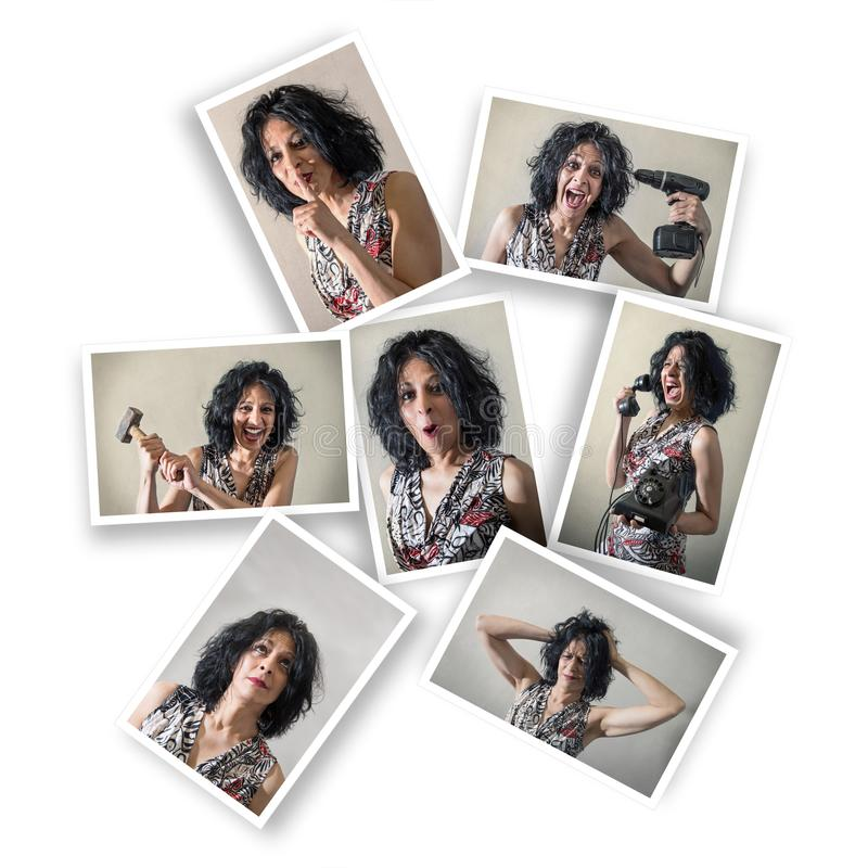 Femme avec des expressions multiples photographie stock