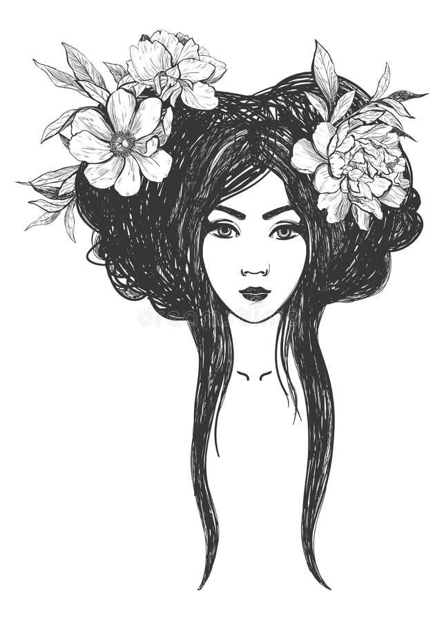 femme avec des fleurs art de tatouage livres de coloriage illustration de vecteur. Black Bedroom Furniture Sets. Home Design Ideas