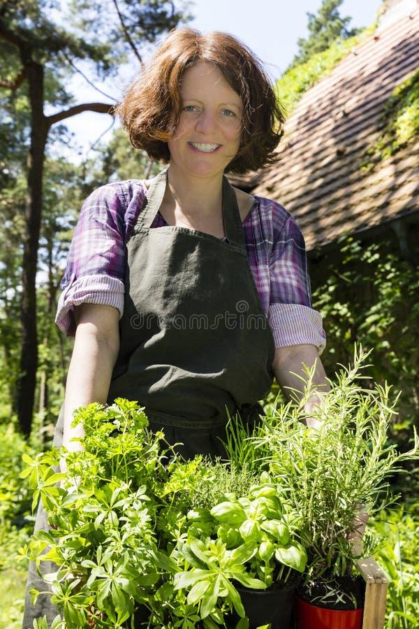 Femme avec des herbes dans un jardin image libre de droits