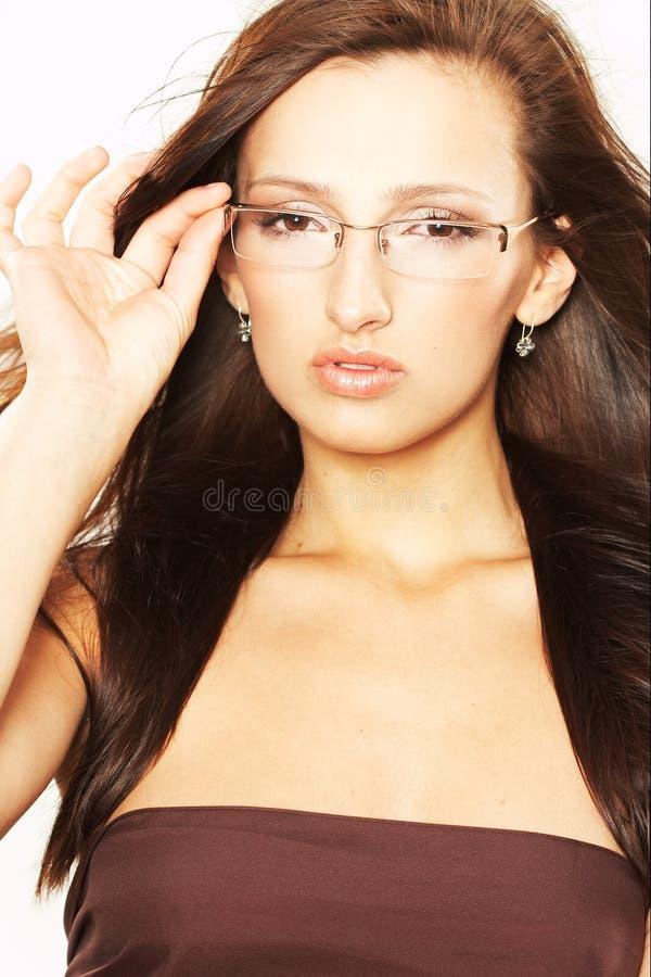 Femme avec des lunettes image stock