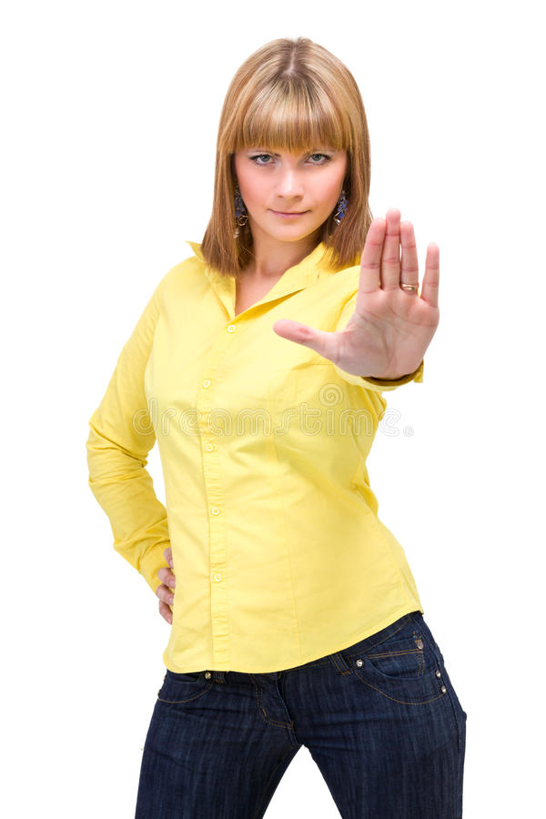 Femme avec des mains comme signe de s'arrêter images stock