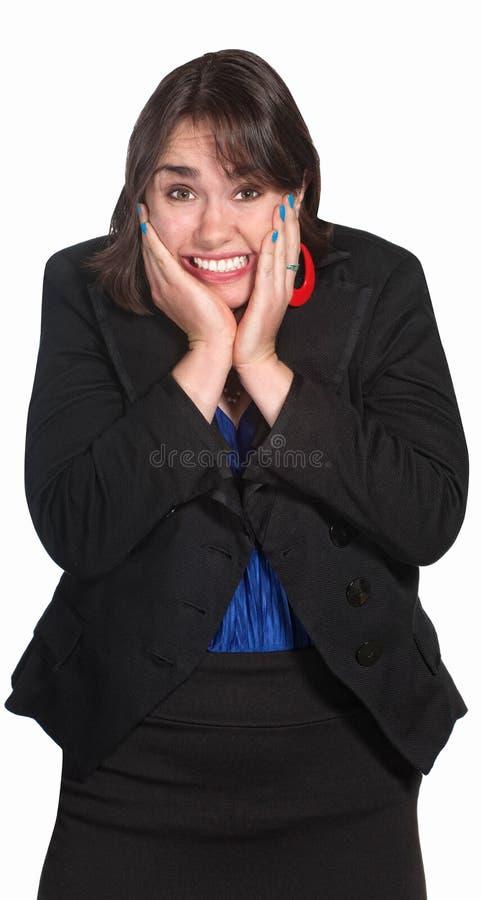 Femme avec des mains sur le visage photographie stock