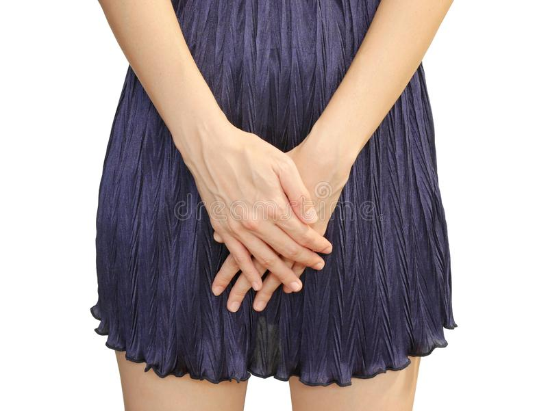 Femme avec des mains tenant dessus sa fourche image libre de droits
