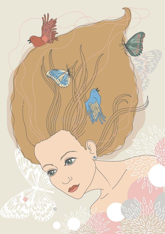 Femme avec des oiseaux et des guindineaux illustration libre de droits