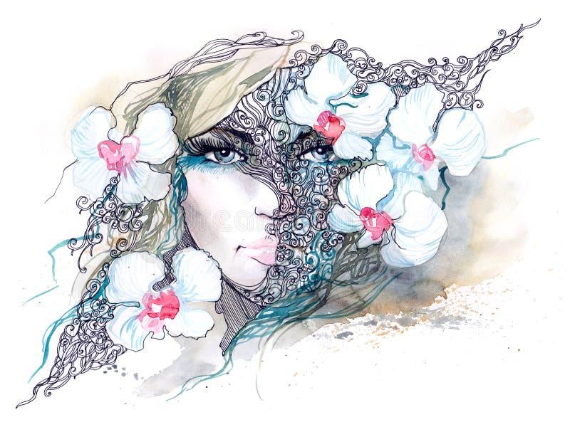 Femme avec des orchidées illustration de vecteur