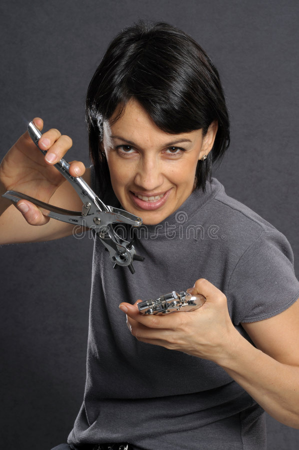 Femme avec des outils image libre de droits