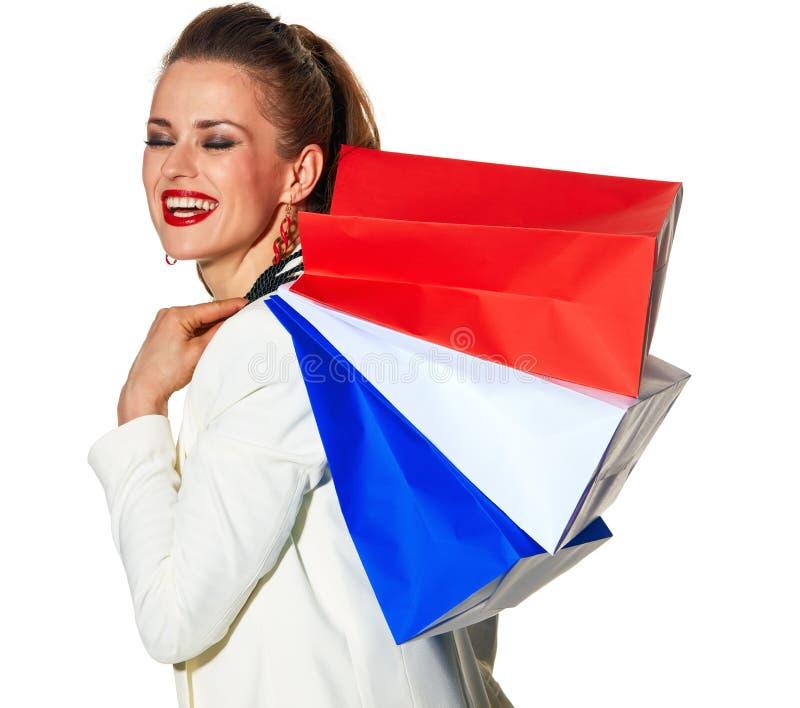 Femme avec des paniers peints en couleurs du drapeau français photos libres de droits