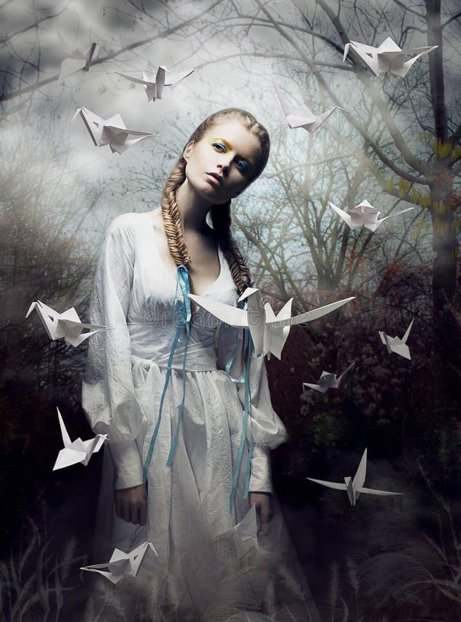 Mystère. Origami. Femme avec le pigeon de livre blanc. Conte de fées. Imagination images stock