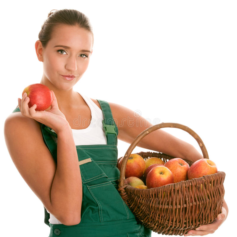 Femme avec des pommes photo stock