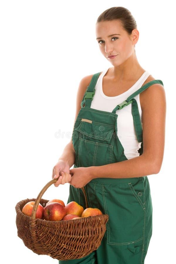 Femme avec des pommes photo libre de droits