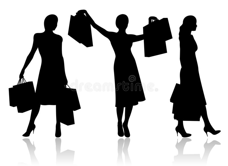 Femme avec des sacs à provisions illustration libre de droits