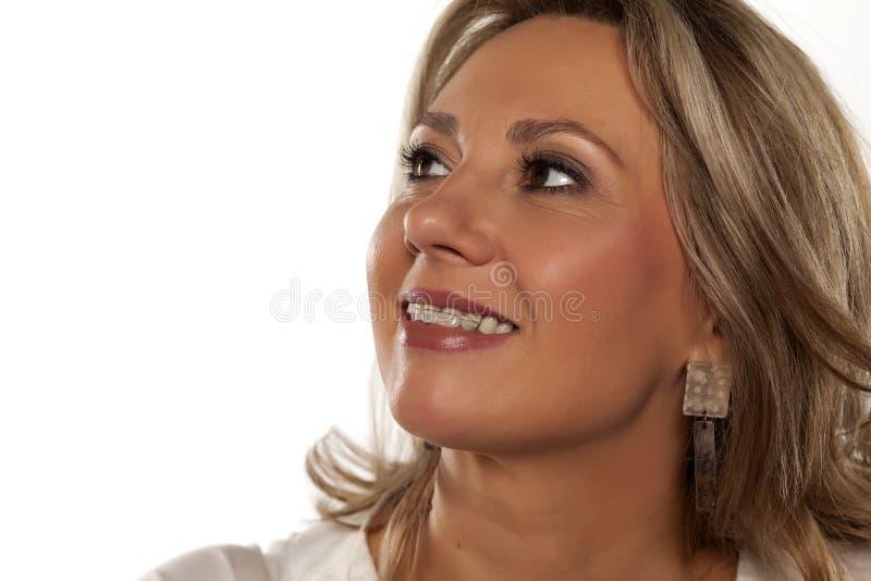 Femme avec des supports photos stock