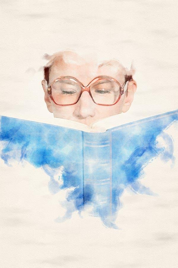 Femme avec des verres lisant dans un livre bleu illustration libre de droits