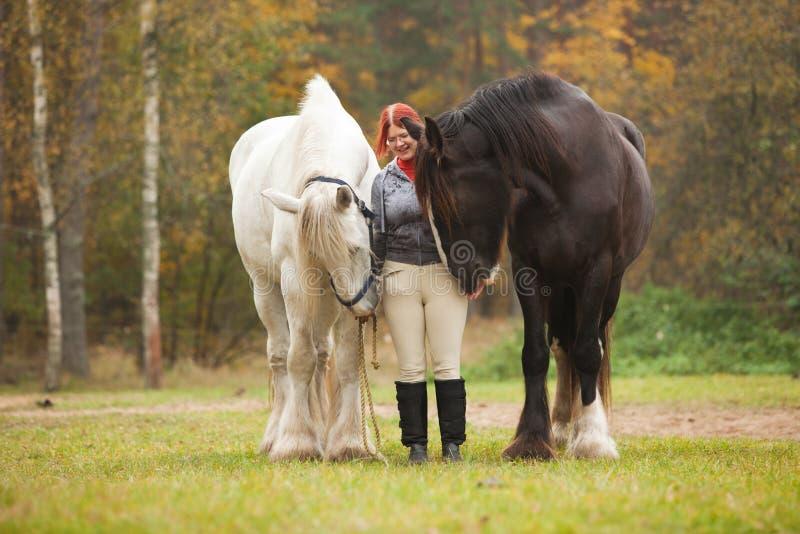 Femme avec deux chevaux photo libre de droits