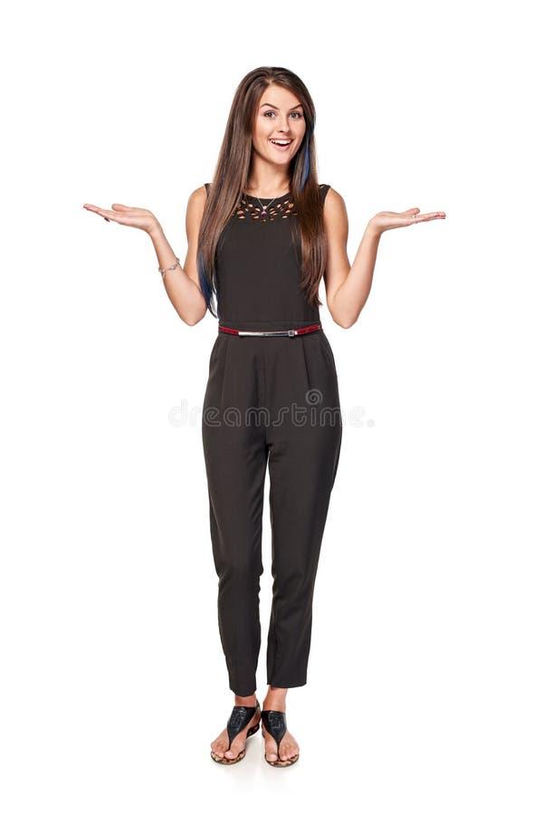Femme avec deux paumes ouvertes de main images libres de droits