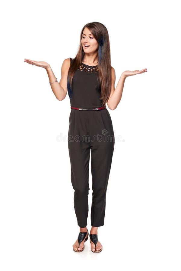 Femme avec deux paumes ouvertes de main images stock