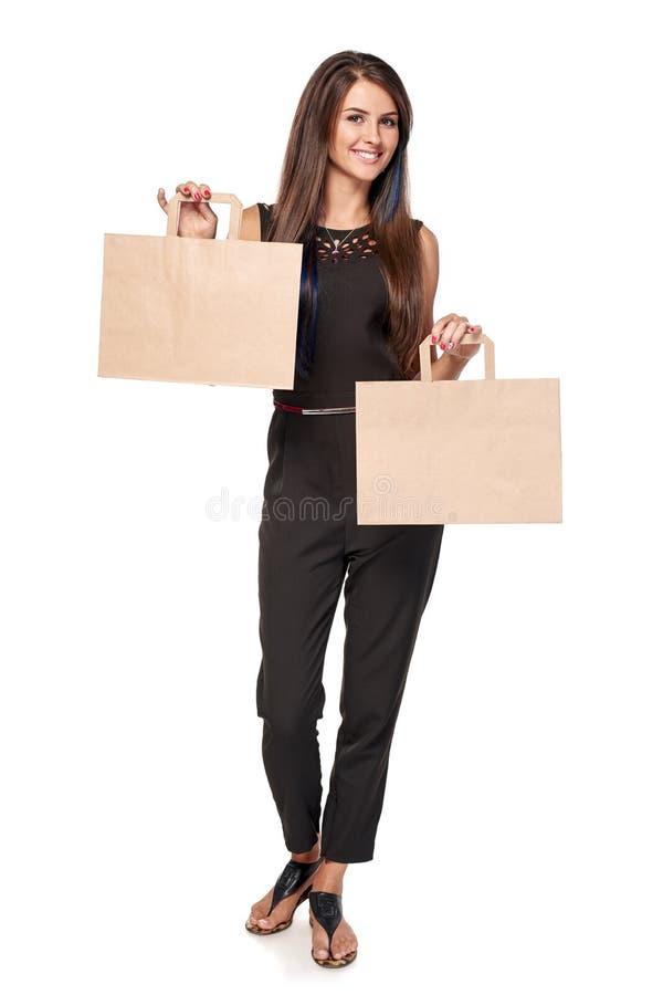 Femme avec deux paumes ouvertes de main photo stock