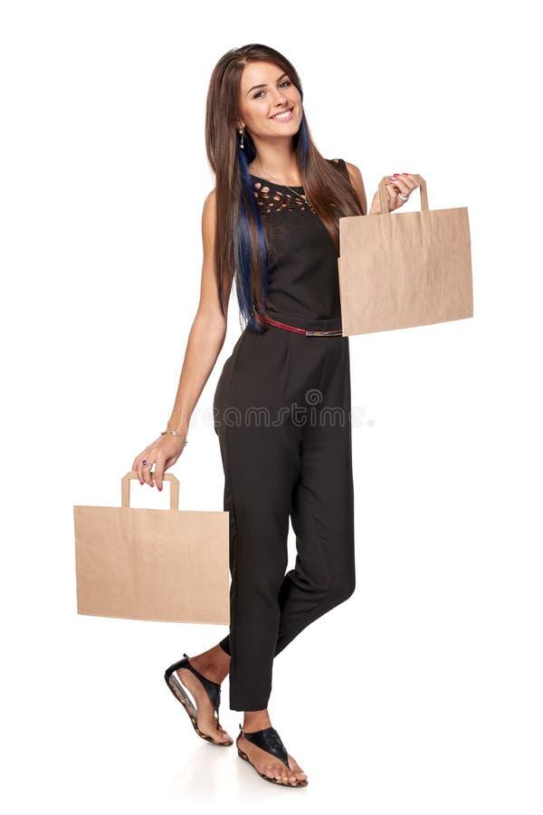 Femme avec deux paumes ouvertes de main image stock