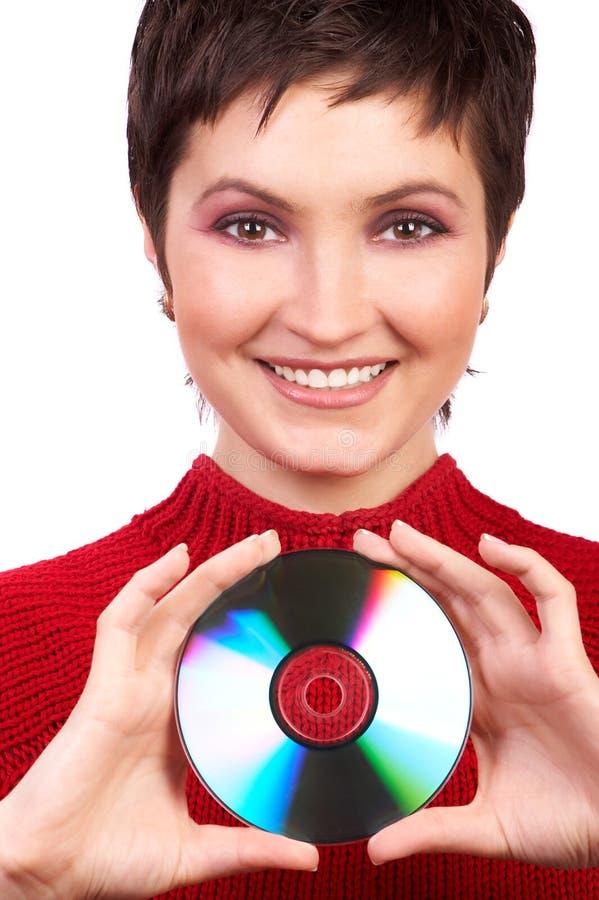 Femme avec du Cd photographie stock