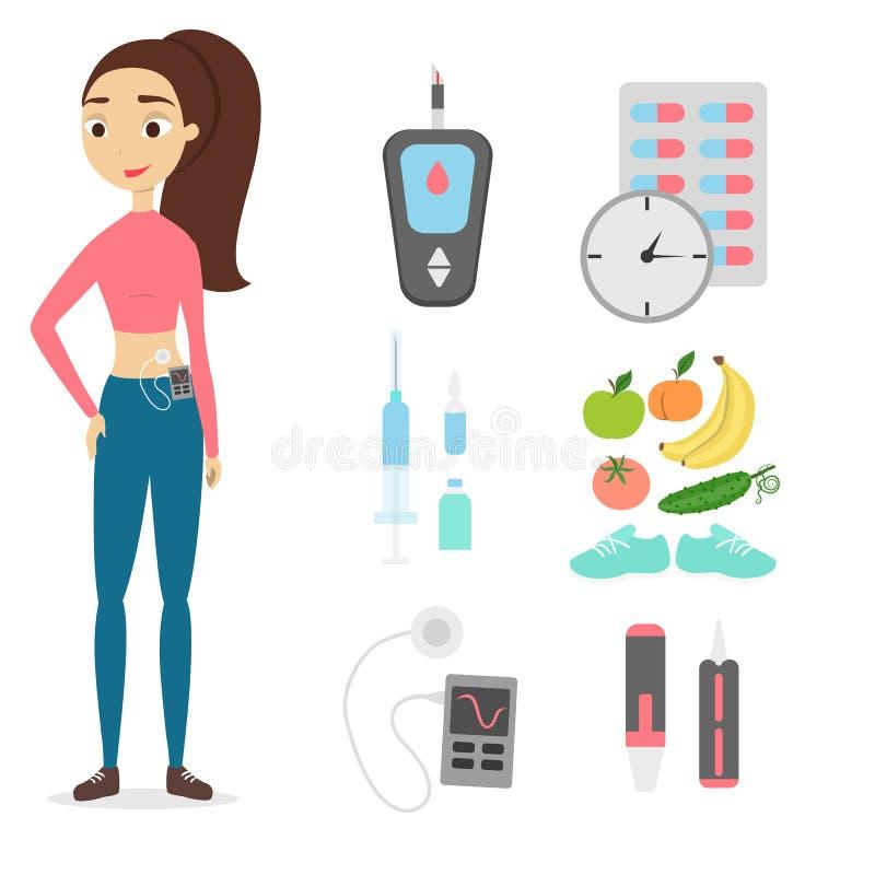 Femme avec du diabète illustration stock
