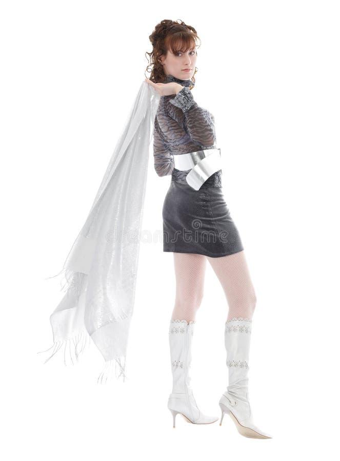 Femme avec l'écharpe image stock