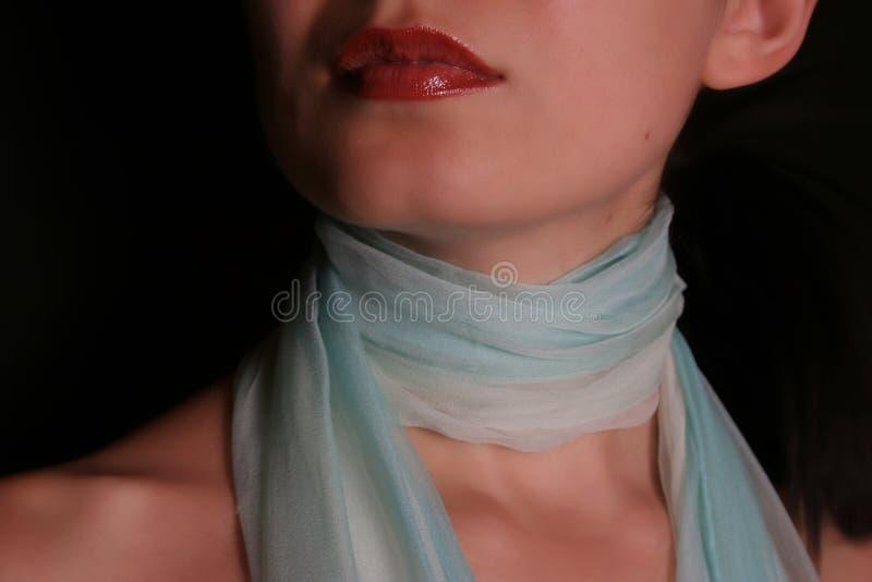 Femme avec l'écharpe photographie stock
