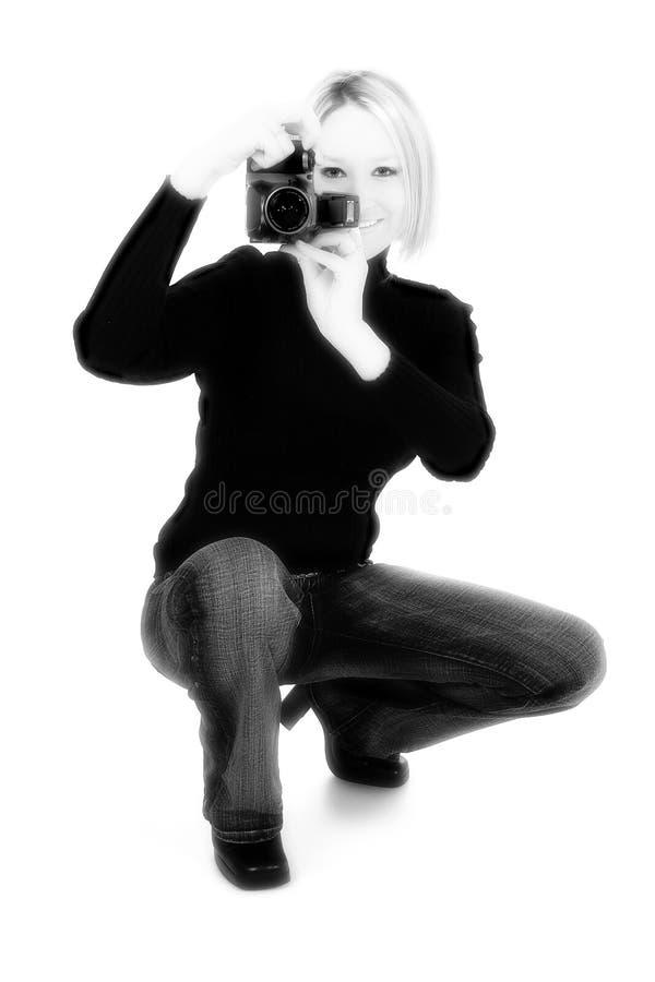 Femme avec l'appareil-photo images libres de droits