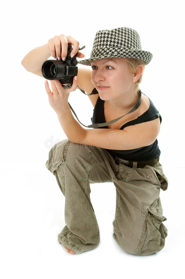 Femme avec l'appareil-photo de photo photo libre de droits