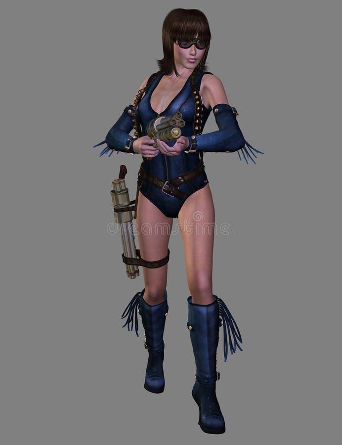 Femme avec l'arme à feu, 3D CG. illustration stock