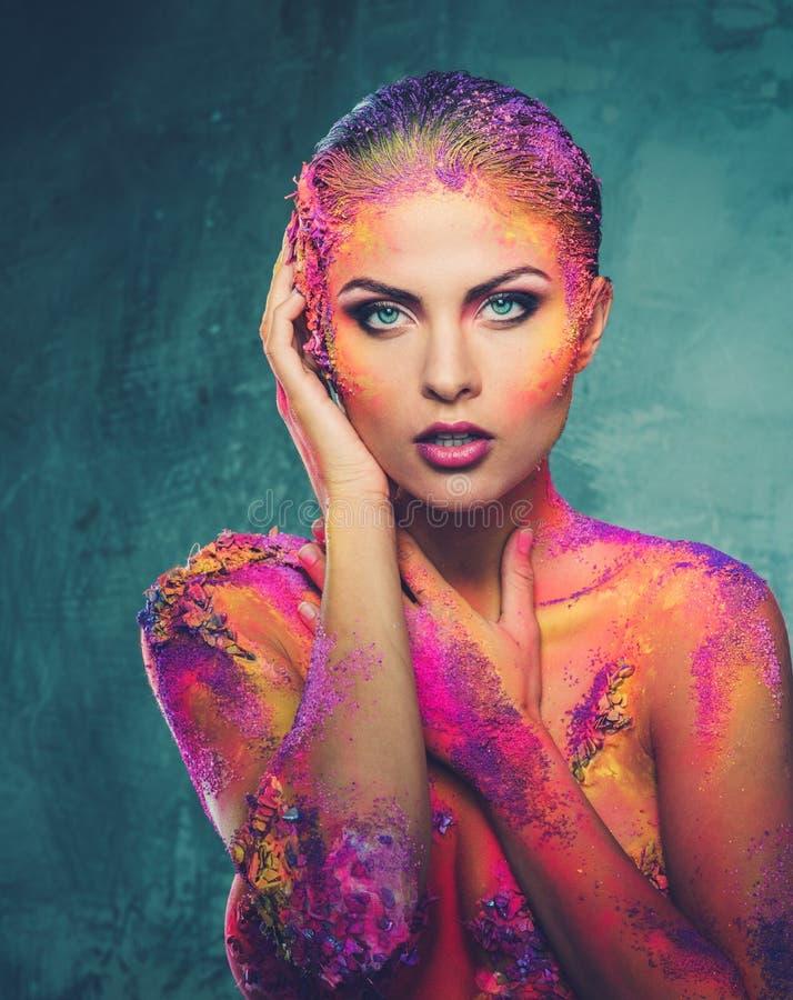 Femme avec l'art de corps conceptuel image stock