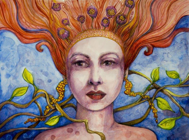 Femme avec l'art rouge de cheveux illustration libre de droits