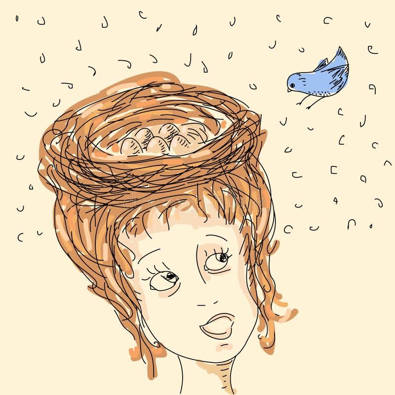 Femme avec l'emboîtement de cheveu illustration libre de droits