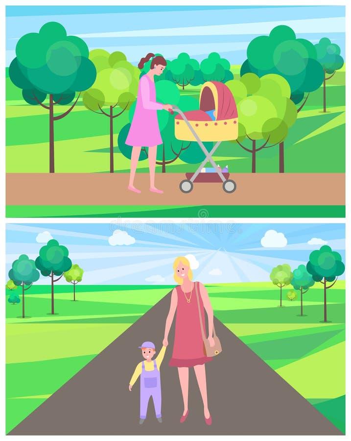 Femme avec l'enfant, la mère et l'enfant en parc d'été illustration de vecteur