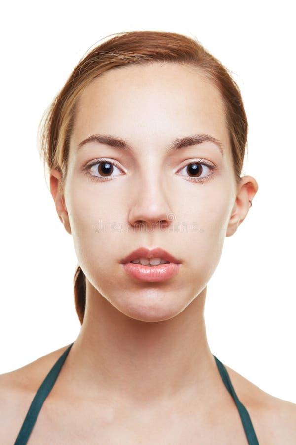 Femme avec l'expression blanc photographie stock