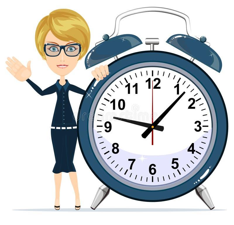 Femme avec l'horloge d'alarme illustration de vecteur