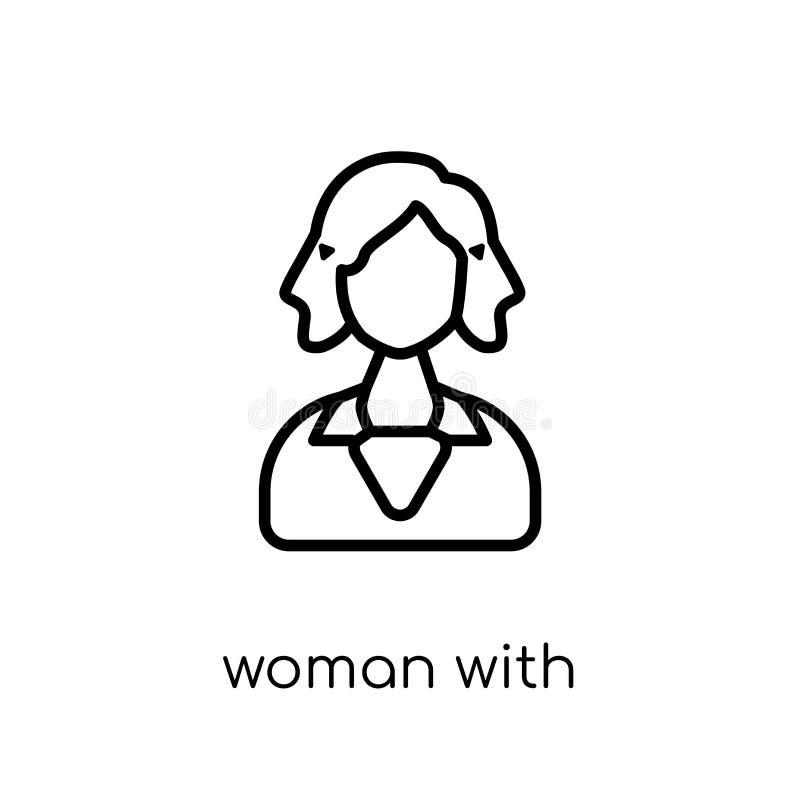 Femme avec l'icône élégante de cheveux Vecteur linéaire plat moderne à la mode W illustration stock