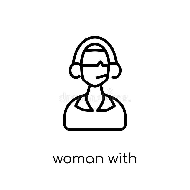 Femme avec l'icône d'écouteurs et de microphone Li plat moderne à la mode illustration libre de droits