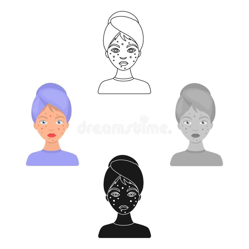 Femme avec l'icône d'acné dans le style de bande dessinée d'isolement sur le fond blanc Illustration de vecteur d'actions de symb illustration libre de droits