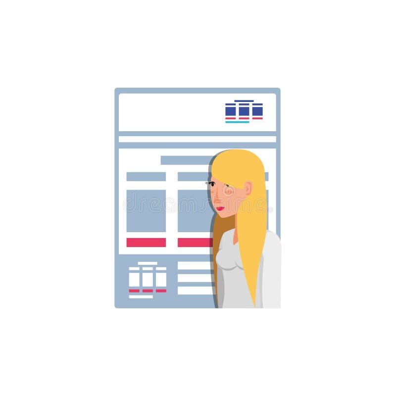 Femme avec l'icône d'isolement par papier de document illustration stock